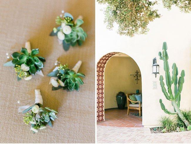 Succulent boutonnieres at Summer Wedding