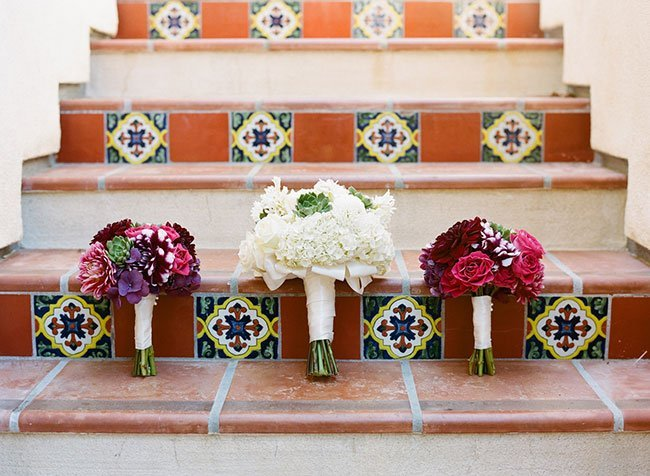 Summer wedding bouquets on the steps of Terranea