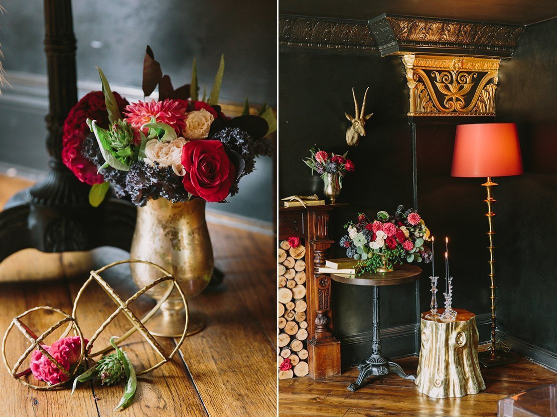 moody speakeasy romantic flowers