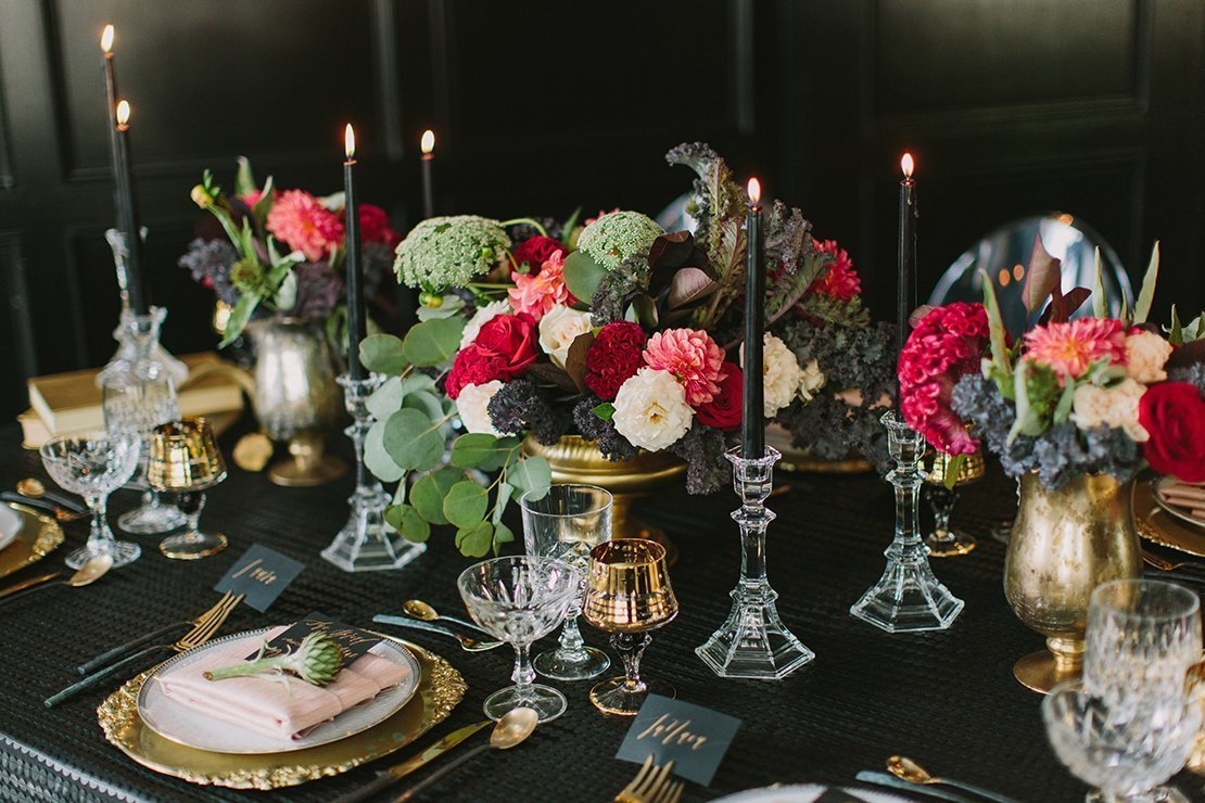 romantic florals and black candles