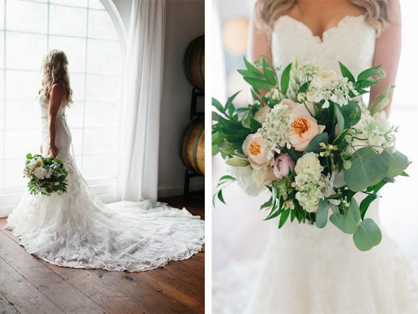 bridal bouquet romantic vineyard wedding trifuno