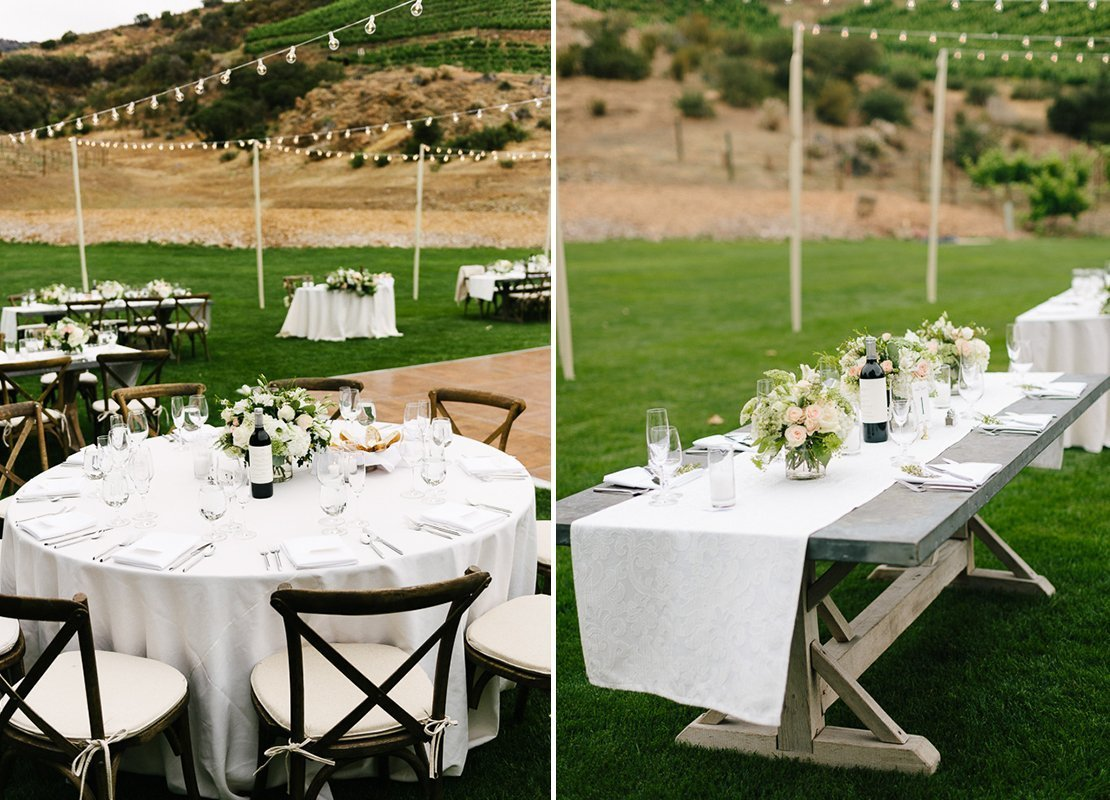 centerpieces vineyard wedding