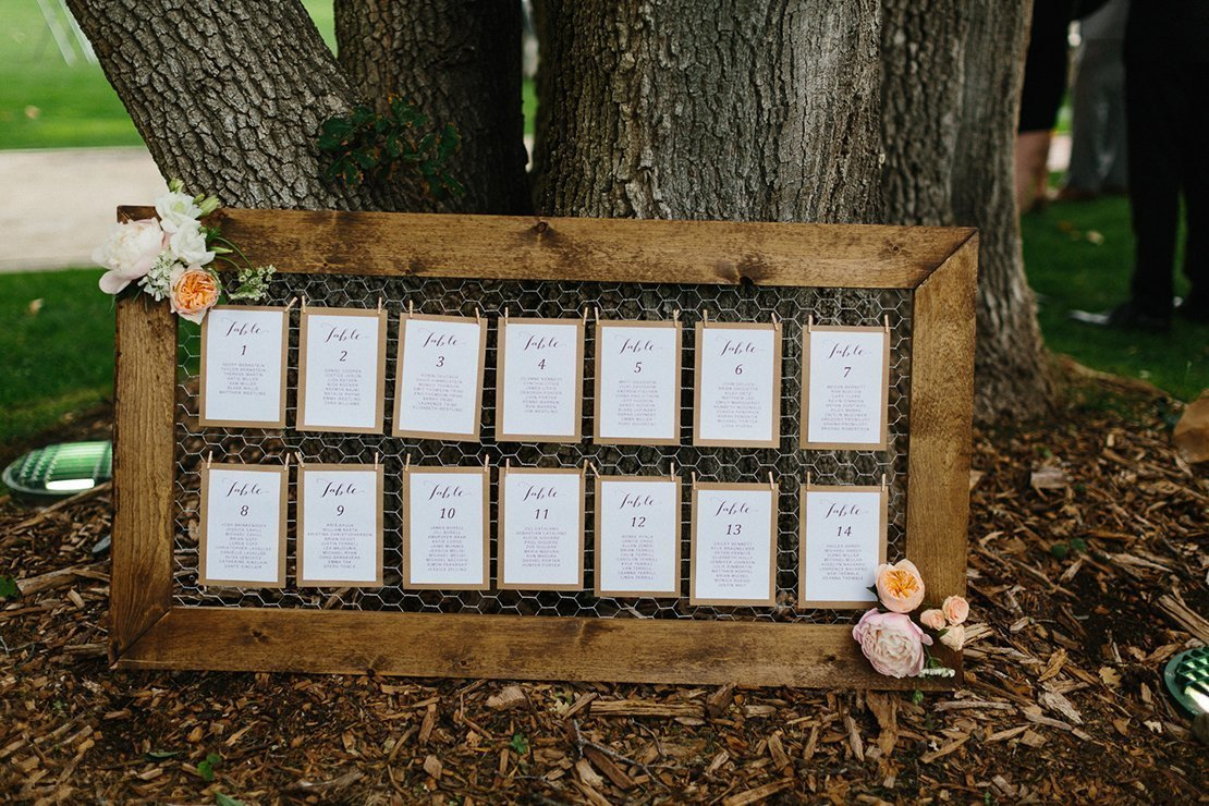 escort cards vineyard wedding