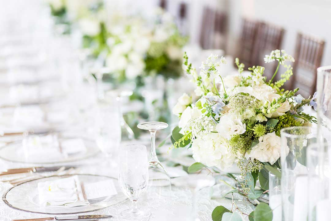 table flowers for wedding reception