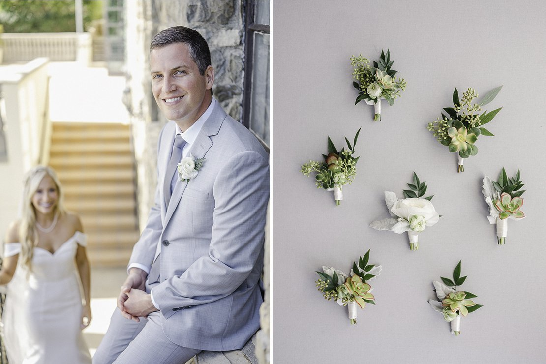 groom, boutonnieres